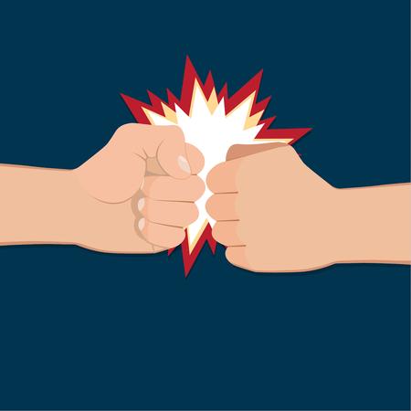 conflicto: Dos puños cerrados en la perforación de aire. Ilustración del vector con las dos manos. Concepto de la agresión y la violencia. conflicto de la guerra