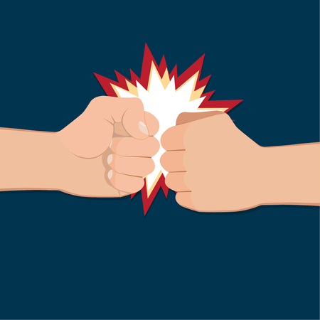 Two clenched fists in air punching. Vector illustration with two hands. Concept of aggression and violence. War conflict Stock fotó - 53613528