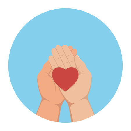 lying in: The heart lying in palms of hands. Vector illustration.