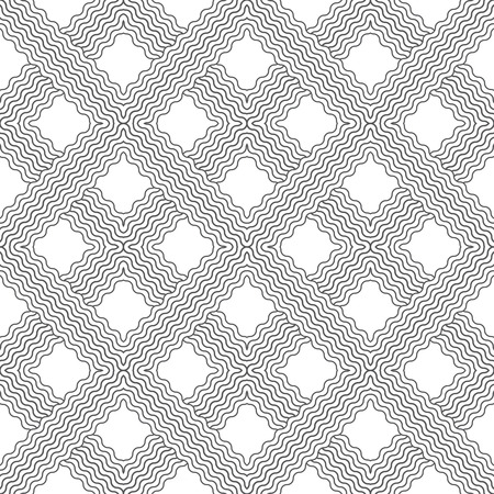 regularly: Tiled seamless pattern. Modern stylish texture. Regularly repeating geometric tiles with waved rhombuses, diamonds. Vector abstract background