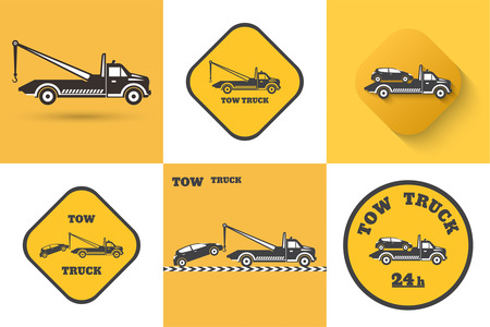 business car: Set of Tow truck icon. Illustration