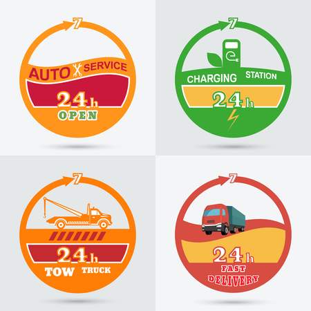 evacuate: Auto service emblem. Tow truck emblem. Wrecker icon. Auto charging station emblem. Fast delivery icon. Design can be used as a logo, a poster, advertising, singboard. Vector element of graphic design