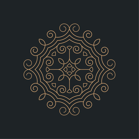 curving lines: Circular pattern. Round ornament with intersecting curving lines. Vector element of graphic design