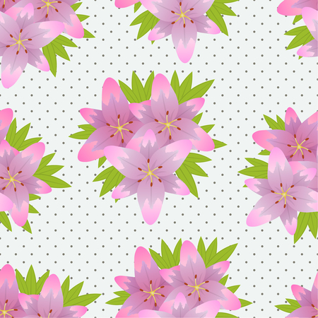 the substrate: Seamless flower texture with lilac lilies on a substrate with a dot pattern. Vector illustration.