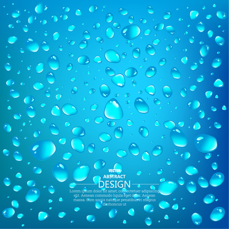 Realistic drops of a rain on a blue background in the form of glass. Vector illustration.
