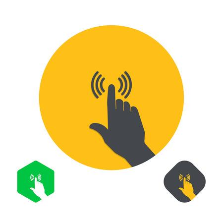 Icône d'un doigt de la main sur l'écran tactile. Une illustration de vecteur dans le style plat.