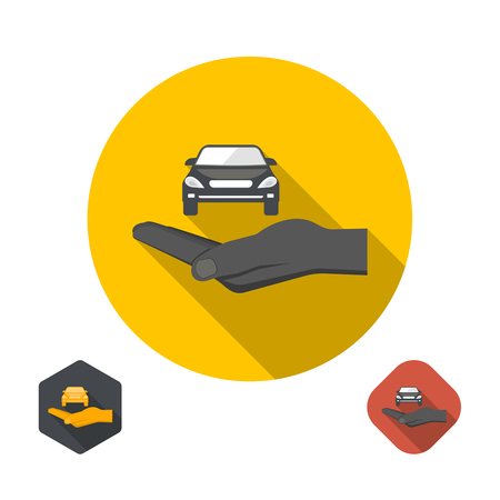 risky love: Icon insurance of cars. Cars under protection. A vector illustration in flat style. Illustration