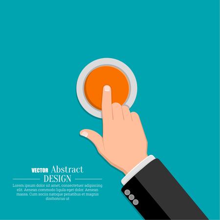 De hand in een pak drukt op de knop. Een vector illustratie in vlakke stijl. Vector Illustratie