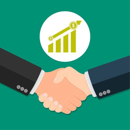 business partner: Partner handshake. Business agreement concept. Successful and profitable cooperation. Illustration