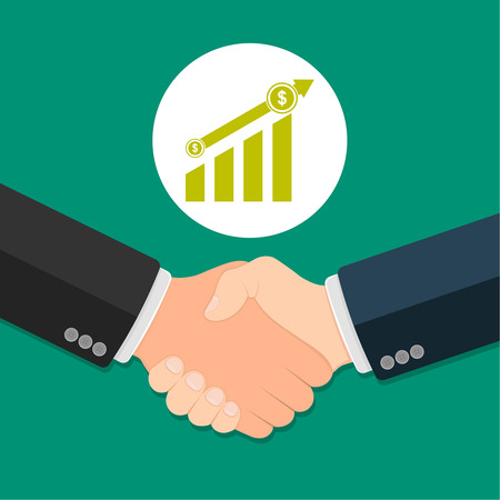 Partner handshake. Business agreement concept. Successful and profitable cooperation. Illustration