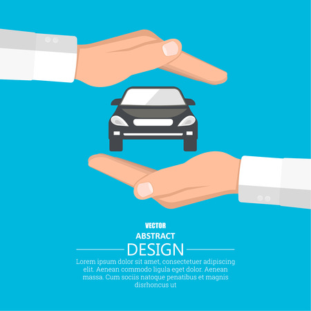 risky love: Concept insurance of cars. Cars under protection. A vector illustration in flat style.
