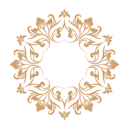 Circular baroque pattern. Round floral ornament. Vector element of graphic design  イラスト・ベクター素材