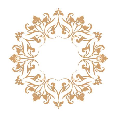 Circular baroque pattern. Round floral ornament. Vector element of graphic design Illusztráció