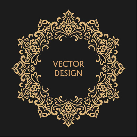 curving: Circular baroque pattern. Round floral ornament. Vector logo template, labels and badges