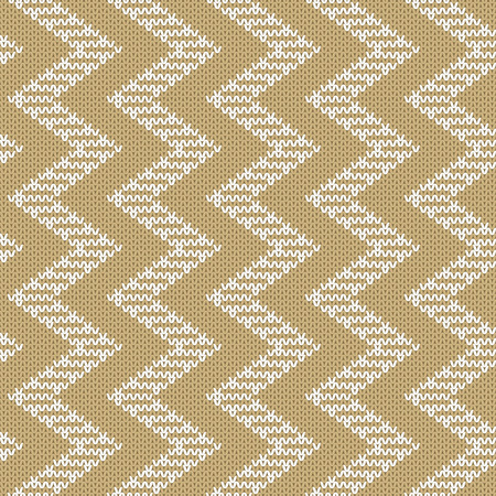 jacquard: Repeating knitted seamless pattern with zigzag. Woolen texture with a jacquard pattern.
