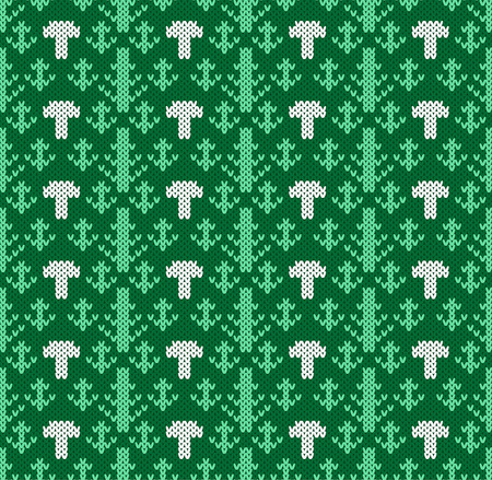 spruce  thread: Knitted pattern of forest trees with cepes. Handwork ornament. Seamless pattern. Vector illustration. Illustration