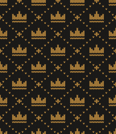 abundance: Knitted pattern of a crown on a black background. Concept of a symbol of abundance, wealth, welfare. Handwork ornament. Seamless pattern. Vector illustration. Illustration