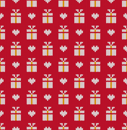 berth: Knitted pattern gifts and heart on a red background. Concept of celebrations, holidays, actions. Handwork ornament. Seamless pattern. Vector illustration.