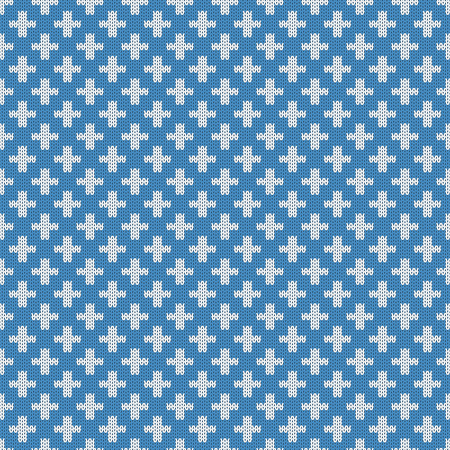 woolen: Repeating knitted seamless pattern with crosses. Woolen texture with a jacquard pattern. Abstract winter holiday design. Sweater ornament