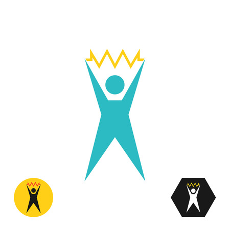 and has: Logo of the stylized figure of the person who has found the solution. Victorious idea. The person the holding badge symbolizing idea, ready innovative thought. Vector illustration.