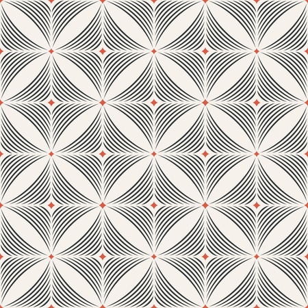 arched: Seamless pattern. Modern stylish geometric texture. Regularly repeating tiles with arched rhombuses, diamonds, arcs. Vector element of graphic design