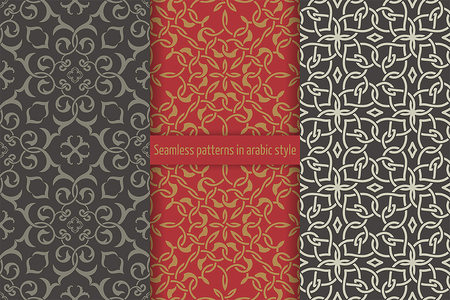 curving lines: Set of seamless patterns in arabic style. Abstract wallpapers. Islamic textures. Repeating tiles with intersecting curving lines. Vector element of graphic design