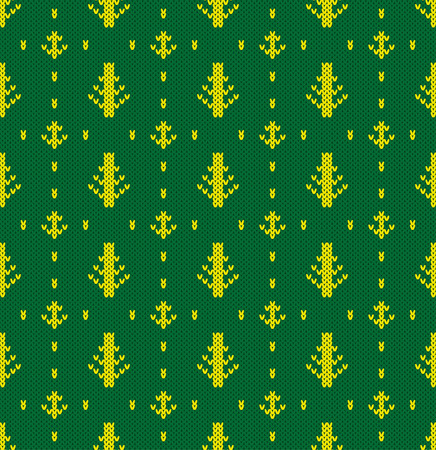 spruce  thread: Knitted pattern of forest trees. Concept of habitat. Handwork ornament. Seamless pattern. Vector illustration.