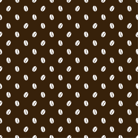 cheerfulness: Seamless texture of grains of coffee on a dark brown background. Vector illustration.