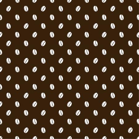dark brown background: Seamless texture of grains of coffee on a dark brown background. Vector illustration.