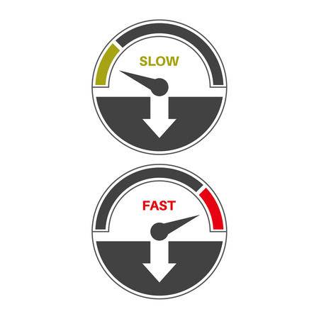 slow down: Set of icons of a speedometer with slow and fast loading. Vector illustration.