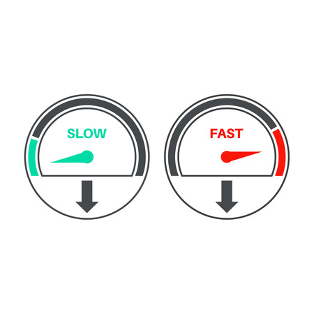 Set of icons of a speedometer with slow and fast loading. Vector illustration.