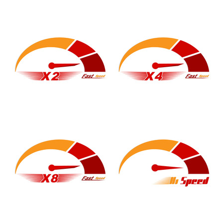 scale up: Set of four speedometer scale. Concept of speed and acceleration. Vector element of graphic design
