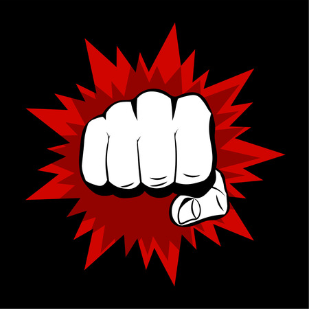 clenched fist: Realistic hand with clenched fist and red splashes on a black background. Flat design Illustration