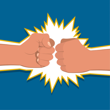 air war: Two clenched fists in air punching. Vector illustration with two hands. Concept of aggression and violence. War conflict Illustration