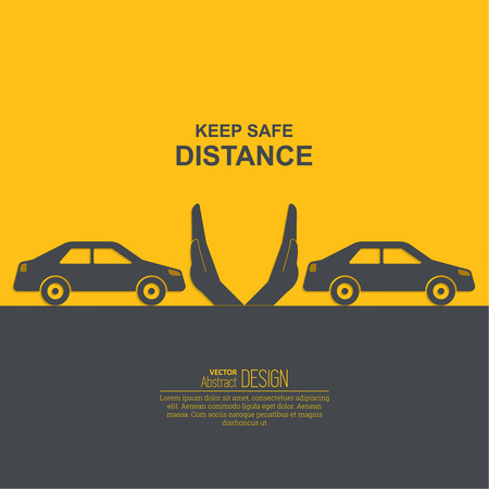 Hands up the distances symbolizing increase between cars. The concept of safety and fail-safety on roads, observance of traffic regulations. A vector illustration in flat style.