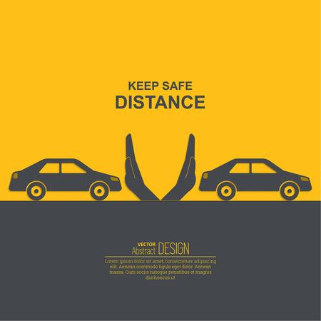 Handen omhoog de afstanden symboliseert stijging tussen auto's. Het concept van de veiligheid en fail-veiligheid op de wegen, de naleving van verkeersregels. Een vector illustratie in vlakke stijl.