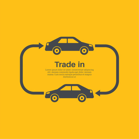 purchasing manager: Two cars with the index of an arrow of an exchange on a yellow background. The concept of a good bargain made with the vehicle. A vector illustration in flat style.