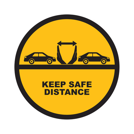 distance: Hands up the distances symbolizing increase between cars. The concept of safety and fail-safety on roads, observance of traffic regulations. A vector illustration in flat style.