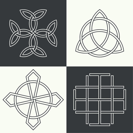 origin: Set of the ancient symbols executed in linear style. Celtic signs, knots and interlacings. Concept of secret and origin of mankind. The mascots and charms executed in the form of logos. Magic signs. Vector illustration.