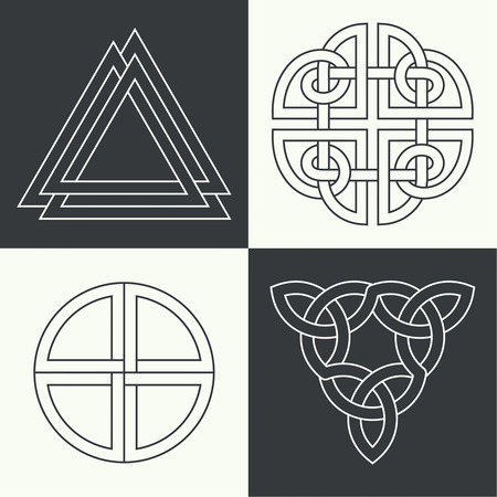 esoterics: Set of the ancient symbols executed in linear style. Celtic signs, knots and interlacings. Concept of secret and origin of mankind. The mascots and charms executed in the form of logos. Magic signs. Vector illustration.