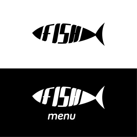 petshop: Two monochrome the fishes stylized a silhouette with the text. A logo, an emblem for the menu of restaurant, a label for pet-shop and another. Vector illustration. Illustration