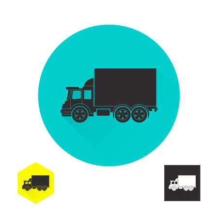 establishments: Truck sign. Fast cargo delivery, service of shops, enterprises and other establishments. A vector illustration in flat style. Illustration