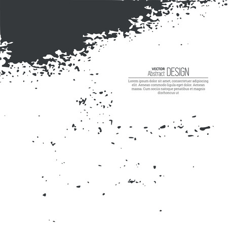 torn edges: Monochrome black and white abstract background with torn edges. Uneven strokes with small particles at edges. Vector element of graphical design