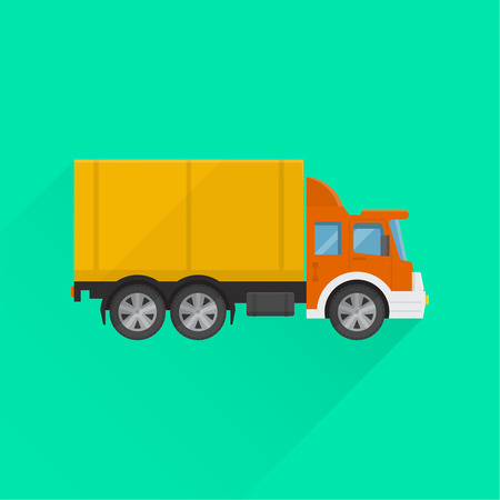 Truck sign on the isolated background. Fast cargo delivery, service of shops, enterprises and other establishments. A vector illustration in flat style.