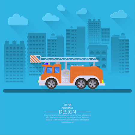 locality: The fire truck going on the way to a city background. Concept of fire safety. Service 911. Help in emergency situations. A vector illustration in flat style. Illustration