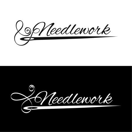 Conjunto logotipos costura. La aguja y el manuscrito arte que pasa en la rosca estilizada. Ilustración del vector.