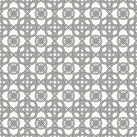 crossings: Seamless pattern. Infinitely repeating modern stylish texture consisting of crossings of simple geometrical linear forms. Circle. Rhombus. Line. Square. Modern vector design Illustration