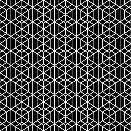 Modèle sans soudure monochrome. Une texture géométrique élégante et moderne avec des hexagones linéaires, des rhombus et des diamants répétés régulièrement. Élément vectoriel de la conception graphique