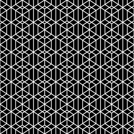 regular: Monochrome seamless pattern. Modern stylish geometric texture with regularly repeating linear hexagons, rhombuses, diamonds. Vector element of graphic design