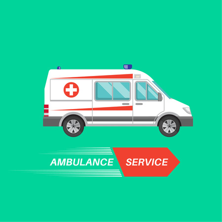 reanimation: Ambulance car with a banner. Resuscitation vehicle. Car of an emergency quick help. A vector illustration in flat style for a poster, advertizing, various medical benefits and organizations.